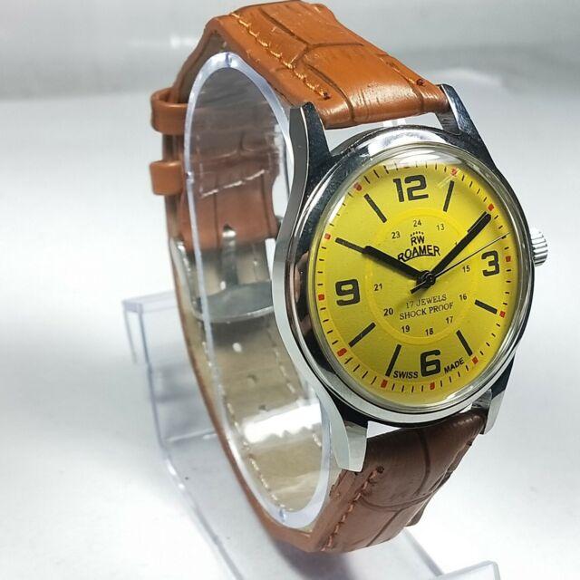 Vintage Roamer Mechanical Hand Winding Movement Mens Analog Wrist Watch AB347