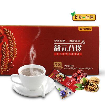 Chinese Food Snack Cereal Powder Sesame Yam 杂粮熟粉代餐粉 纯粉淮山药核桃红豆红枣枸杞 五谷磨房 益元八珍粉448g