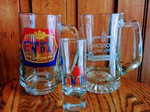 Lot-of-2-MOLSON-CANADIAN-Lager-Beer-Glasses-with-Handle-amp-Double-Tall-Shot-Glass