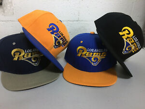 Los-Angeles-Rams-Snap-Back-Cap-Writing-Hat-Embroidered-Adjustable-Flat-Bill-LA
