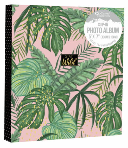 """Tropical Stay Wild Design Photo Album Holds 104 5 x 7/"""" Photographs Family STMB"""