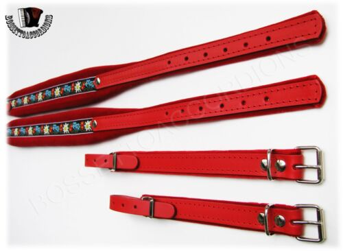 Accordion Shoulder Straps Red Velvet /& Red Leather FOLK Genuine from Italy