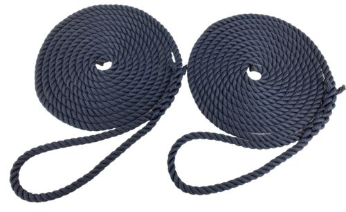 2 x 12 MTS OF 14MM NAVY BLUE SOFTLINE MOORING ROPES  WARPS  LINES BOATS 30cm Eye