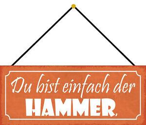Du Bist Der Hammer Tin Sign Shield with Cord 10 X 27 CM K0779-K