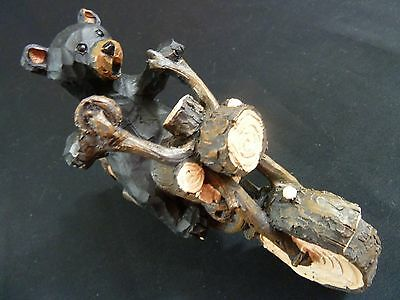 Bear Riding Motorcycle Carved Wood Look Figurine Statue Ornament Lipco L18009