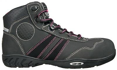 Women Work Shoes Safety Jogger Steel Toe Isis Hi Top Black Leather Original New