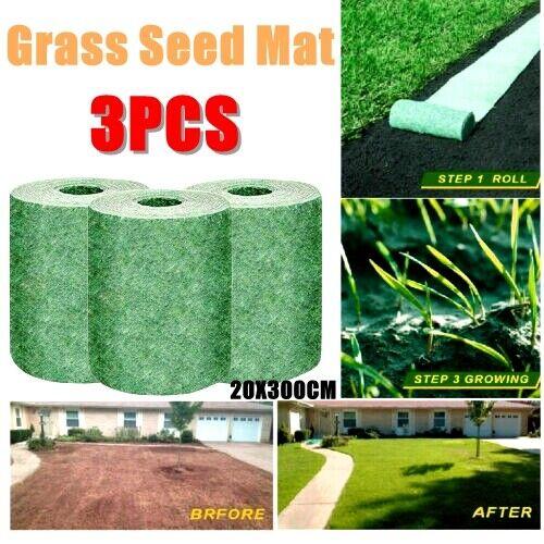3 Roll 20*300cm Green Grass Mats Biodegradable Fertilizer Garden Picnic USA