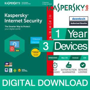 Details about Kaspersky Internet Security 2019 (3PCs) Antivirus  Multi-Device Genuine License