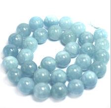 """Genuine 8mm Natural Aquamarine Round GEMSTONE Loose Beads 15"""" Strand"""