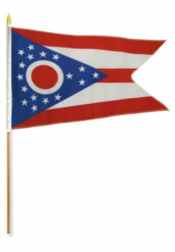 """12x18 12/""""x18/"""" Wholesale Lot of 3 State of Ohio Stick Flag wood Staff"""