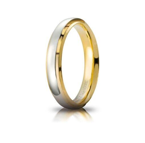 Fede Nuziale UNOAERRE Cassiopea gold yellow e bianco Brillanti Promesse