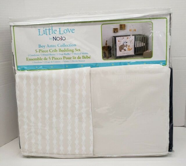 Nojo Little Love Aztec 5Piece Crib Bedding BUNDLE W Musical Mobile Fox and Bear