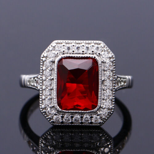 Vintage Argent 925 Carré Améthyste Ruby Topaz Multi-Couleur Simple fashion rings