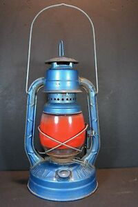 Vintage Dietz Little Wizard Oil Lantern City of New York Red Glass