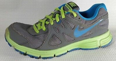 Nike Revolution 2 Sneakers Running Boys 5 Youth Shoes Grey Green Blue 555082 007 | eBay