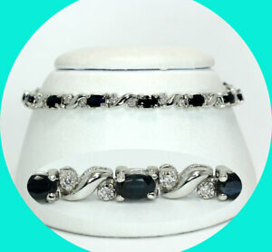 "3.65CT diamond sapphire wave bracelet 14K WG oval birthstone 11 GM 6 7/8"""