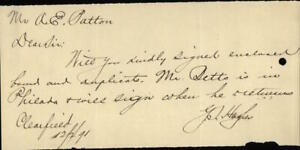 1891 Clearfield Letter A.E. Patton Y.S. Hughes