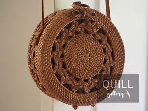 Unique Handwoven Bali Round Rattan Straw Bag Canary Ebay