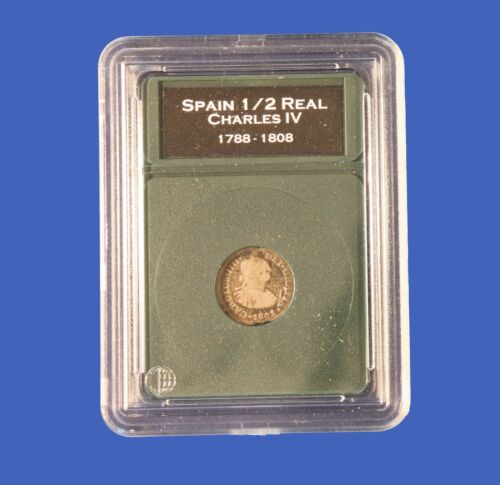 Premier Certified Style Coin Holder for Spanish Colonial 1//2 Real with Labels