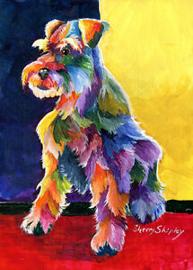Schnauzer-3-Original-5x7-Acrylic-Framed-DOG-Painting-by-Sherry
