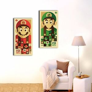 Set-Of-2-Super-Mario-Canvas-Prints-Framed-Giclee-Wall-Art-Nursery-Home-Decor