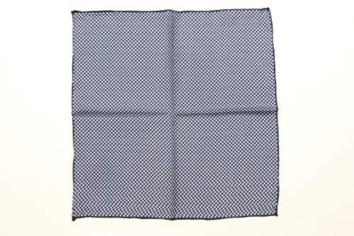 pure silk Battisti Pocket Square Navy /& white modern check