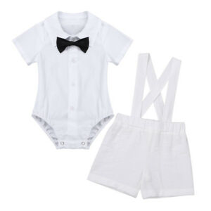 36fd66314 Details about Baby Boys Baptism Christening Outfit White Romper Linen Suspender  Shorts Clothes