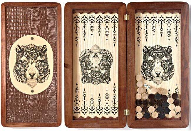 Juegos de ajedrez hechos hechos hechos a mano, Cochetón de alta calidad, tigre de bronce. 079