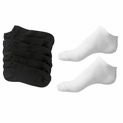 Mens Soft Cotton Plain Black or White Trainer Liner Sport Socks 6-11 UK
