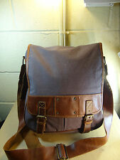 Fossil Gray Canvas / Brown Leather Trim Crossbody Bag Made in India