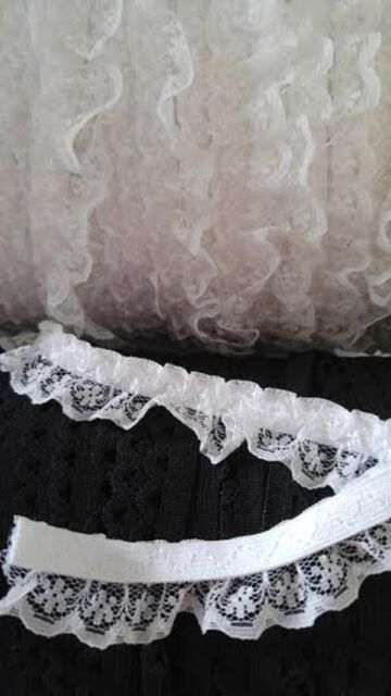 "5 yards white ruffle iridescent lace elastic trim 3/4"" W.SHIP FROM USA"