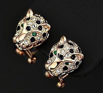 süße Ohrringe Schmuck Leopard Löwe Ohrstecker Gold plattiert (vergoldet) Katze