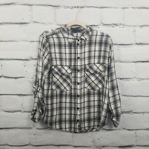 Sanctuary Womens Size Small Brushed Flannel Pink White Black Plaid Longsleeve