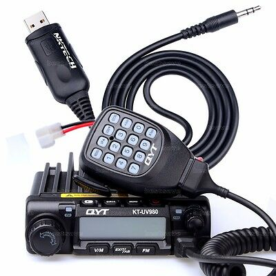 QYT KT-UV980 PLUS Dual-Band Quad Standby UHF 55W VHF 75W Car Mobile Radio +Cable