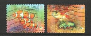 SINGAPORE 2007 SHORES & REEFS (FISH & SHRIMP) BOOKLET PANE SET OF 2  STAMPS USED