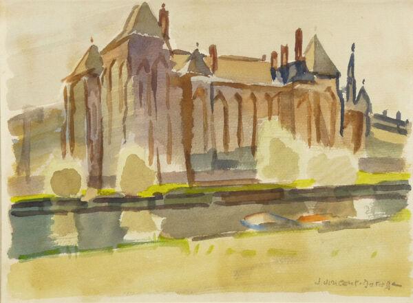 100% De Qualité Jean Vincent-darasse (1901-1983) Paysage Vue Abbaye De Solesmes Sarthe France