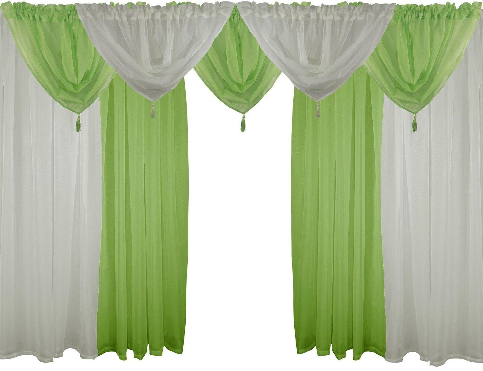 Creme & grün 9 Teile Voile-Set 229cm Stab taschen Gardinen Gardinen Gardinen Vorhänge & Beute | Sehr gelobt und vom Publikum der Verbraucher geschätzt  | Niedrige Kosten  a915f1