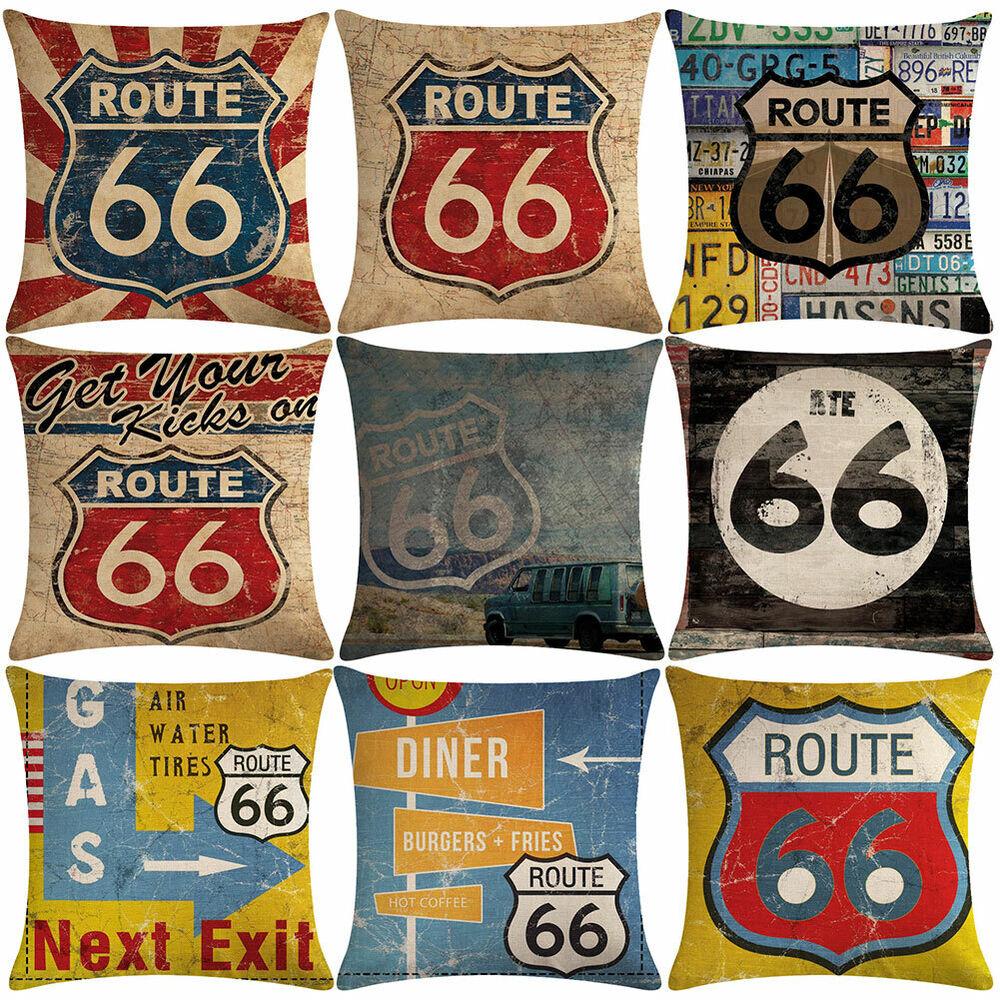 retro route 66 print linen pillow case