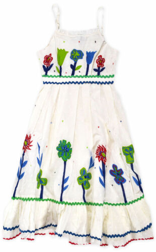 Girls Floral Embroidered Dress New Kids Sleeveless Summer Dresses Ages 2-8 Years