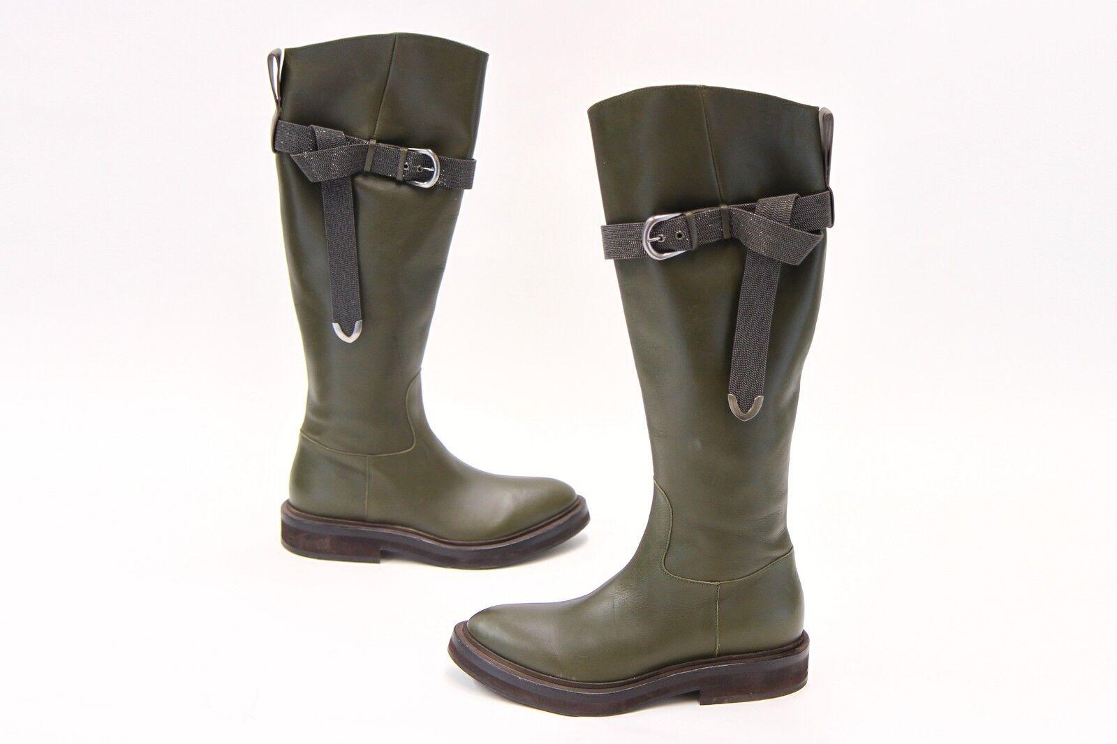 NWD  2995 Brunello Cucinelli Monili Bead Strap Leather Riding Boot 37 7 US A181