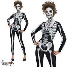 Womens Adult Black and Bone Skull Skeleton Catsuit Halloween Fancy Dress Costume