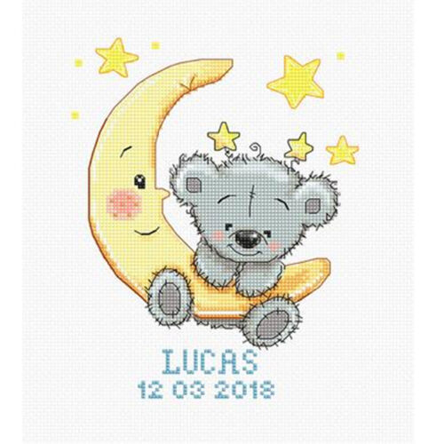 Luca-S ~ Counted Cross Stitch Kit ~ Lucas Sampler ~ Teddy ~ Birth Record ~ B1146
