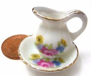 1:12 Scale Victorian Jug & Wash Bowl Tumdee Dolls House Pink Floral Motif P41