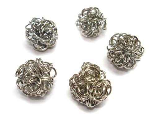 5 unidades #a22887 10mm Alambre perlas plata wickelperlen