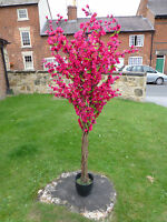 Artificial Plants - 5' Large Dark Pink Artificial Blossom Tree With Flowers