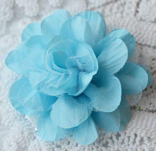"2 pcs Chiffon Rose Cotton Tulle Silk Flower 5/"" for Bridal Wedding Baby Hair Clip"