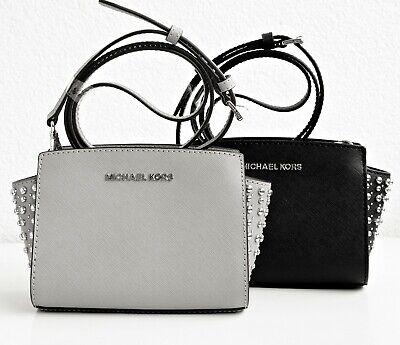 Michael Kors tasche umhängetasche selma studded small messenger grau silber neu | eBay