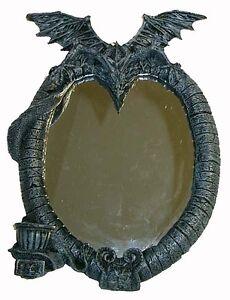 drachen spiegel mit kerzenhalter fantasy gothic figuren h he 32 cm neu ebay. Black Bedroom Furniture Sets. Home Design Ideas