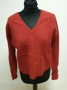 G644-WOMENS-WOLSEY-DARK-RED-ARAN-KNIT-V-NECK-WOOL-JUMPER-UK-M-10-EU-38
