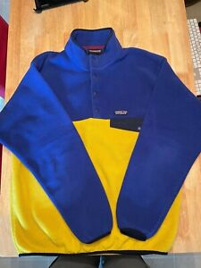 Patagonia Synchilla Men's Fleece Pullover Sweater Snap-T Size L Yellow/Purple